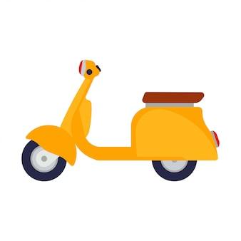 Ikonen-fahrraddesign der gelben seitenansicht der rollerillustration flaches.