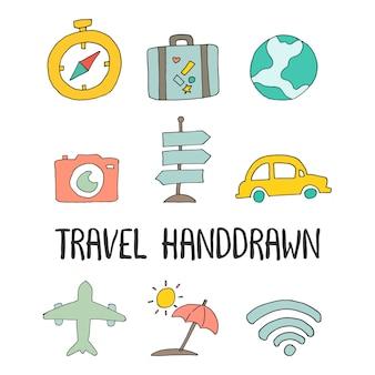 Ikonen-illustrationsvektor der reise hand gezeichneter
