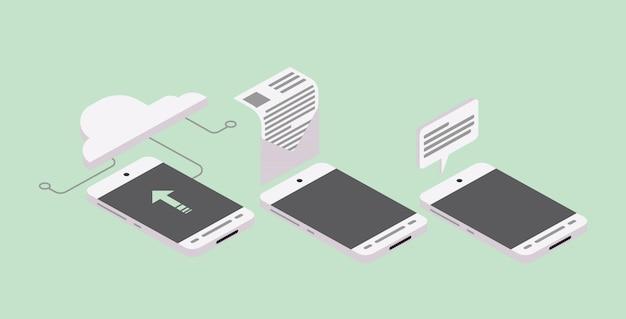 Ikonen-sammlungs-design-grafik smartphone isometrische