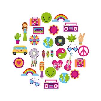 Ikonen stellten hippie-landschaftskarikatur ein