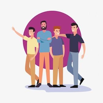 Ikonen-vektor ilustration der leutegruppencharaktere männliche
