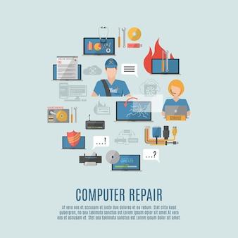 Ikonen-zusammensetzungsplakat der computer-reparatur flaches