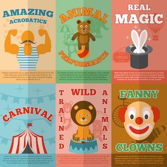 Ikonen-zusammensetzungsplakat des zirkusses flach