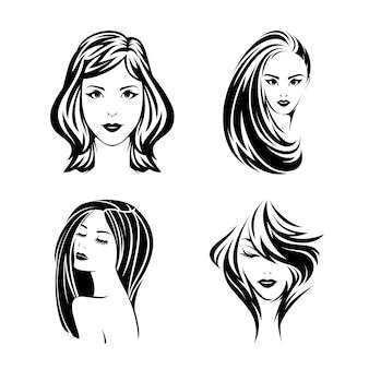 Ikonenhafter schöner mädchen-illustrations-design-satz