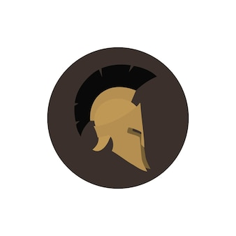 Ikonenhelm, antiquitäten römischer oder griechischer helm für kopfschutzsoldaten mit federkamm oder rosshaar mit schlitzen für augen und mund, vektorillustration