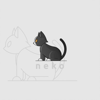 Ikonenlogo der schwarzen katze mit goldenem schnitt