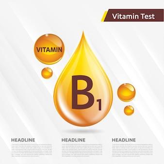 Ikonensammlung des vitamins b1 goldener tropfen der vektorillustration