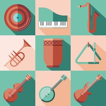 Ikonensammlungsdesign der instrumente, musikklangmelodie und illustration des liedthemas