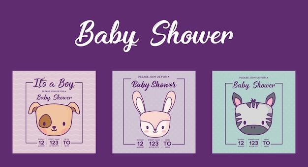 Ikonensatz babypartyeinladungen mit netten tieren über purpurrotem hintergrund, bunter entwurf. vecto