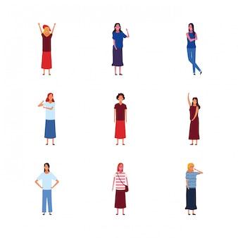 Ikonensatz der karikaturfrauenstellung