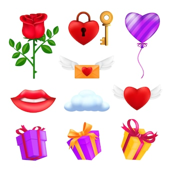 Ikonensatz des valentinstags gesetzt - rote rosenblume, fliegendes herz, rosa ballon, geschenkbox, umschlag, vorhängeschloss mit einem schlüssel, lächelnde lippen, wolke.
