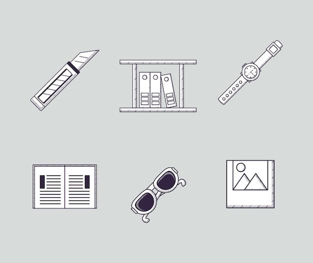 Ikonensatz von bürobedarf in verbindung stehende ikonen