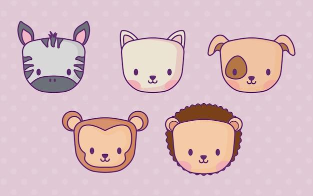 Ikonenset von netten tieren über purpurrotem hintergrund, buntes design. vektor-illustration