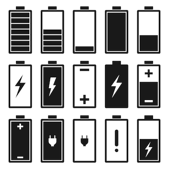 Ikonenvektor-designillustration der batterie flache auf weiß
