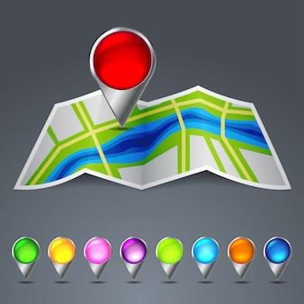 Ikonenvektorkarte der stadt