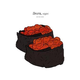 Ikura nigiri, skizzenvektor des handabgehobenen betrages. japanisches essen
