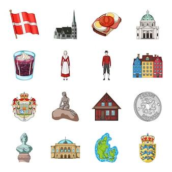. illdenmark cartoon-set-symbol. wahrzeichen isoliert cartoon set symbol. dänemark. illustration fenstervorhang auf weiß.