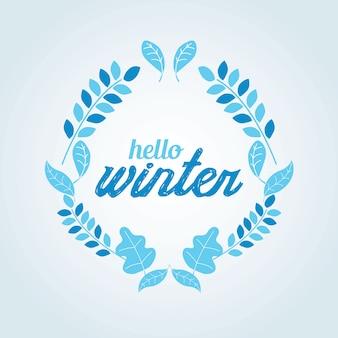 Illstration blauer vektor des winterkranzes farb