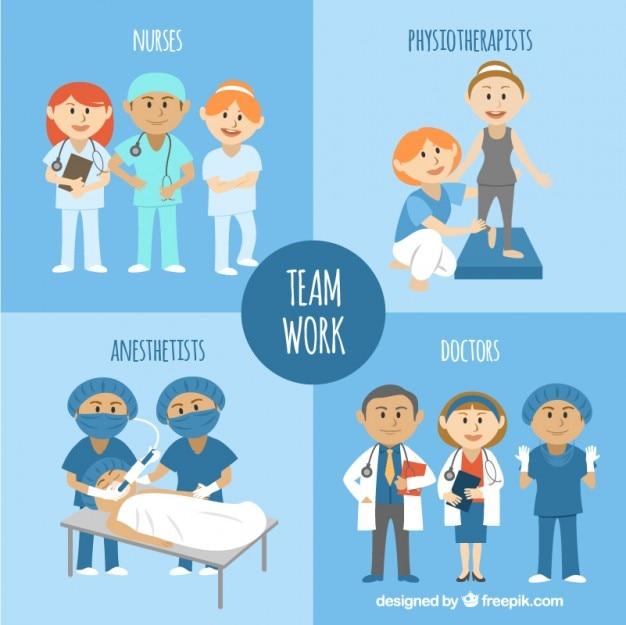 Illustrated medizinische teamwork