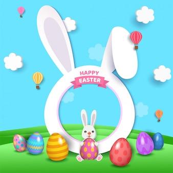 Illustration 3d art des glücklichen osterferienentwurfs mit kaninchenrahmen und gemalten eiern auf naturhintergrund.