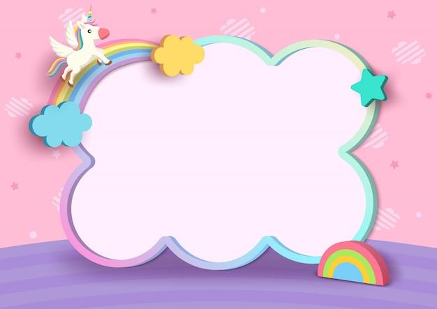 Illustration 3d art von einhorn und regenbogen mit niedlichem rahmen auf rosa wolkenmusterhintergrund.