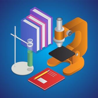 Illustration 3d der laborstandklammer mit büchern, mikroskop und notizbuch