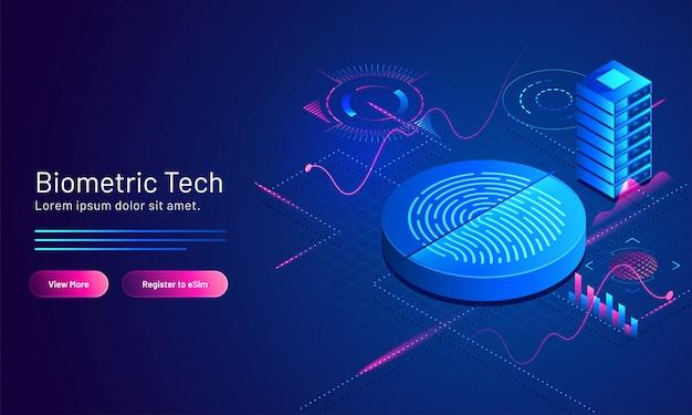 Illustration 3d des biometrischen fingerabdrucks und des servers auf blauem wissenschaftlichem für landing page der biometrischen technologie.