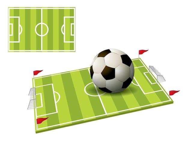 Illustration 3d des fußballplatzes lokalisiert auf weiß