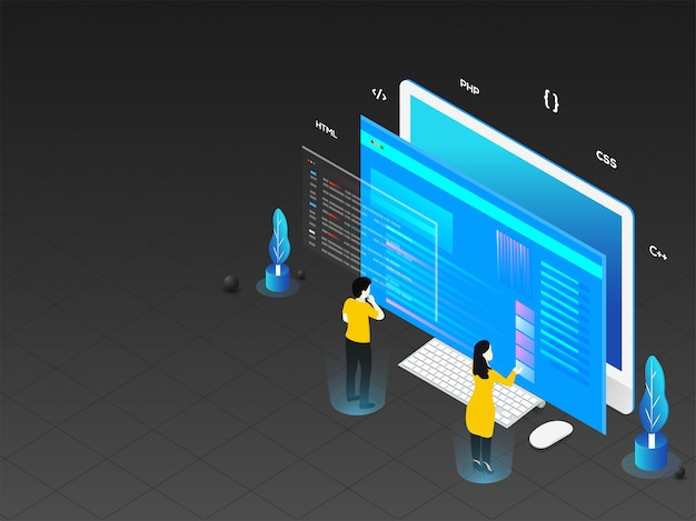 Illustration 3d des mannes und der frau, die an computer arbeiten