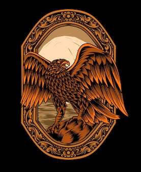 Illustration adlerkopf-mandala-art mit weinleseverzierung