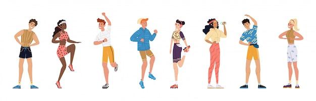 Illustration aktiven sport junge leute