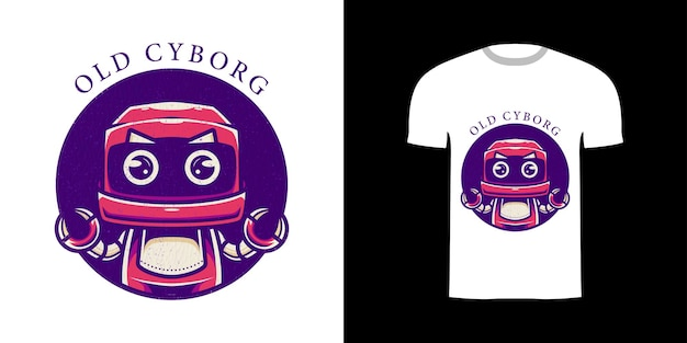 Illustration alter cyborg für t-shirt-design
