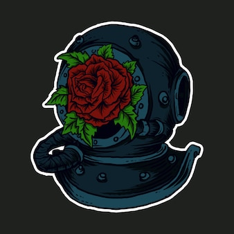 Illustration, alter taucherhelm und rose