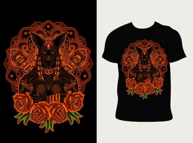 Illustration anubis gott mit mandala und rose