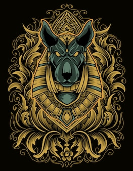 Illustration anubis kopf mit gravur ornament