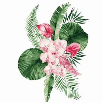 Illustration, aquarellstrauß mit tropischen blättern und blumen, weißer orchidee, rosa rose und weißem anthurium, monstera und palmblättern.