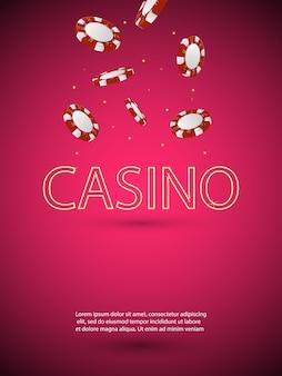 Illustration auf einem kasinothema mit glänzendem neonbuchstaben und fallenden bunten chips. glücksspiel