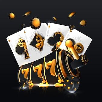 Illustration auf einem kasinothema mit pokersymbolen und pokerkarten auf dunklem hintergrund.