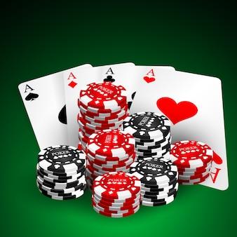Illustration auf einem kasinothema mit spielenden chips und spielkarten auf dunklem hintergrund. designelemente für glücksspiele. vier asse und pokerchips stapeln sich.