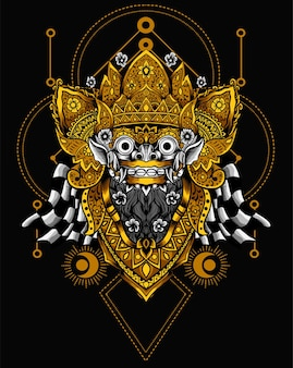 Illustration balinesische barong-maske
