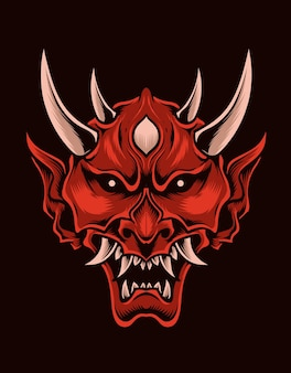 Illustration beängstigend oni maske rote farbe