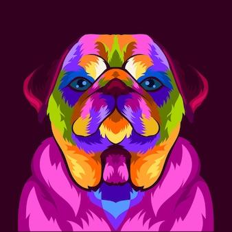 Illustration bunter hundekopf mit pop-art-stil