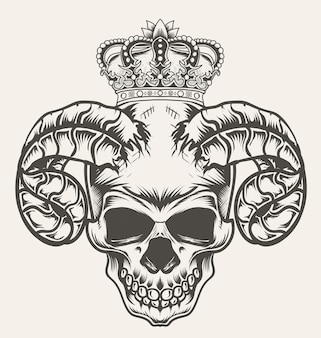 Illustration dämonenschädel mit königskrone