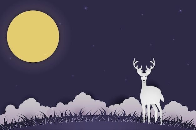 Illustration deer auf rasen in der nacht papierskulptur