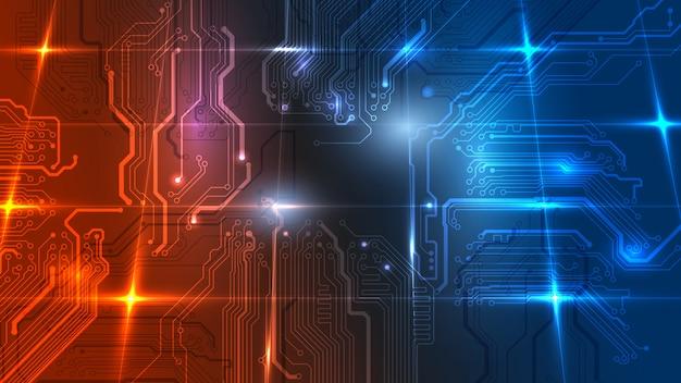 Illustration der abstrakten elektrischen platine, schaltung. abstrakte wissenschaft, futuristisch, web, netzwerkkonzept.