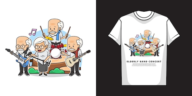Illustration der älteren band im konzert mit t-shirt design