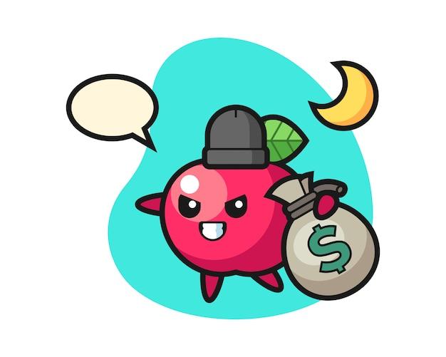 Illustration der apfelkarikatur wird das geld gestohlen