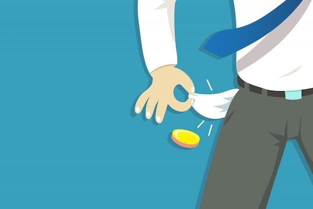 Illustration der armen geschäftsmannhand, die seine leeren taschen zeigt