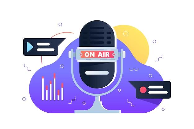 Illustration der aufnahmestudioelemente. modernes mikrofon mit flacher beschriftung. rundfunk und technologie. studioaufnahme- und radio-stream-konzept. isoliert