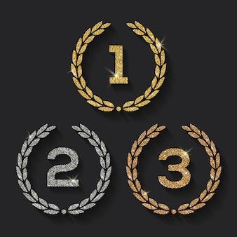 Illustration der auszeichnungen glitzern goldene, silberne und bronzene embleme.